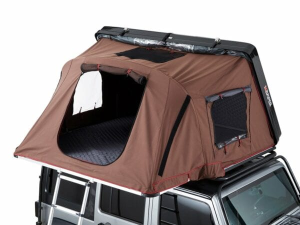 The polyester flysheet is detachable on the both the Skycamp and the X-Cover...although its a great feature in the summer, it is also a must after humid weather
