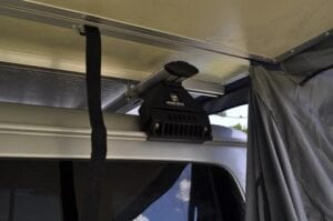 Image showing Ventura Deluxe fitting to the crossbars of the car. The Ventura Deluxe rooftents fit almost every vehicle