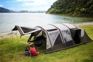 Zempire TXL Aero Pro air tent with porch AND canopy. Just pole the front door out using the poles included in the bag.