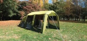 Zempire EVO TM air tent with porch - upright / flat front profile to maximise the porch area. 150 cm measured on the roof.