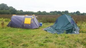 A collapsed pole tent - despite the myth that air tents are susceptible to collapsing, it is actually pole tents that cannot flex out windload